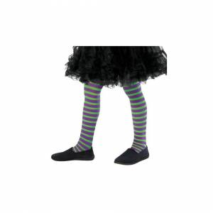 Unbranded Kids Wicked Witch Striped Tights (Green & Purple)