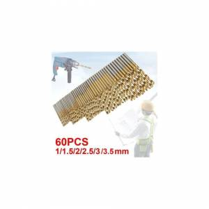 ACENIX 60 Pcs Lot Micro Drill Bits Metric Size 1mm, 1.5mm, 2mm, 2.5mm, 3mm, 3.5mm HSS