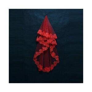 Slowmoose (Red, 120CM) Layer Lace Edge Catherdal Wedding Veil