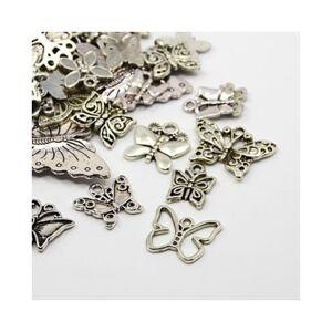 Beadz Galore 30g x Tibetan Silver Mixed Charms Pendants - Antique Silver BUTTERFLIES