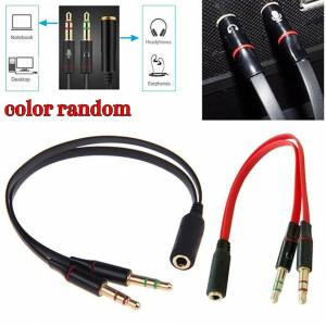 Unbranded 3.5mm 1 Female to 2 Jack Male Splitter Cable L/R Audio Microphone MIC PC Headset
