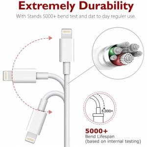 Emmabin Lightning iPhone Charger Cable MFi Certified Ecclus 3 Pack [3.3ft/1m] High Speed