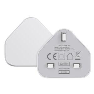 SLTX UK 3 Pin Plug USB Mains Charger Adapter, 1AMP 1000mAh Fast Speed Universal