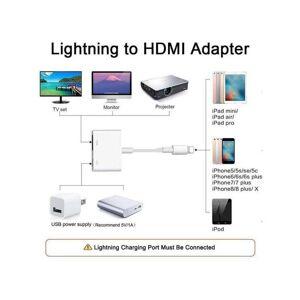 Unbranded Adapter Cable Lightning To HDMI Digital TV AV Apple iPhone iPad 5 6 7 8 Plus X