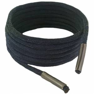 GGfootcare (120 cm) Shoe and Boot Laces Black 3 mm Round Leather