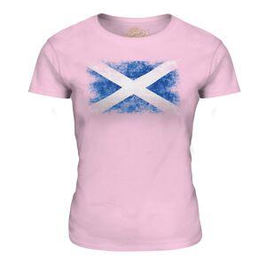Candymix (Pale Pink, Medium) Candymix - Scotland Distressed Flag - Women's T-Shirt Top