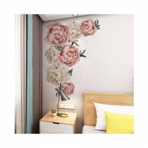 Slowmoose Pink Peony Flower Wall Stickers - Romantic Flowers Home Decor For Bedroom, Livin
