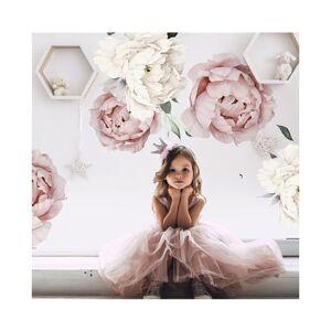 Slowmoose Pink White Watercolor Peony Flowers Wall Stickers - Kids Room Living Room Bedroo