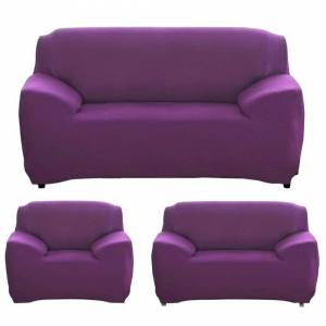JS One (10. Purple, 1 Seater(90-140cm)) Stretchable 1/2/3/4 Seater Sofa Cover Slipcover