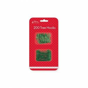 The Home Fusion Company 200 x Christmas Xmas Green Wire Plastic Tree Hooks Bauble Ornament Decoration