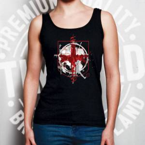 Tim And Ted (XXL, White) World Cup Ladies Vest England Flag Football Crest Of Arms Soccer Le