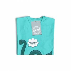 Tim And Ted (XL, White) Loch Ness Monster Womens TShirt Nobody Sees Me Joke Humour Nessie My