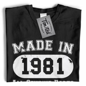 Tim And Ted (4XL, Navy Blue) Mens 40th Birthday T Shirt Made in 1981 All Genuine Parts Tee