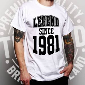 Tim And Ted (M, Navy Blue) Mens 40th Birthday T Shirt Legend Since 1981 Slogan Forty Tee
