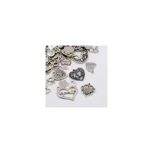 Beadz Galore 30 Grams Antique Silver Tibetan Random Shapes & Sizes HEART Charms