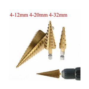 ACENIX 3 Pcs Large HSS Steel Step Cone Drill Titanium Bit Set Hole Cutter 4-12/20 /32mm