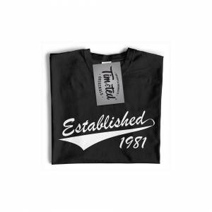 Tim And Ted (M, Navy Blue) Mens 40th Birthday T Shirt Established 1981 Fortieth Year Tee