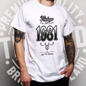 Tim And Ted (XL, Navy Blue) Mens 40th Birthday T Shirt Vintage 1981 Aged To Perfection Tee