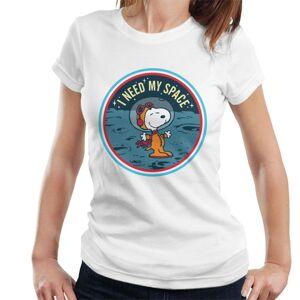 Peanuts (Medium, White) Peanuts Snoopy On The Moon I Need My Space Women's T-Shirt