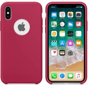 Unbranded Smooth Liquid Silicone Case For Apple iPhone X - Rose Red