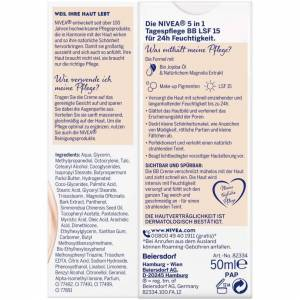 NIVEA BB 5 in 1 Day Cream 24h Moisture (50 ml), BB Cream for Medium to Dark Skin