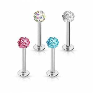 """Unbranded Pink, 16GA (1.2mm), 5/16"""" (8mm), Sparkly Ferido Disco Ball Crystal Top Surgical"""