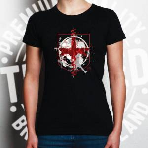 Tim And Ted (M, White) World Cup Womens TShirt England Flag Football Crest Of Arms Soccer Le