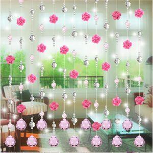 Slowmoose (B) Glass Rose Bead Curtain Living Room Bedroom Window Door Wedding Decor Home