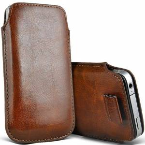 Custom Whip Styling Alcatel 3088 Brown Pull Tab Sleeve Faux Leather Pouch Case Cover (XXL)