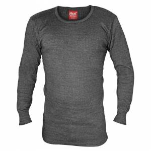 Heat Holders (Large, Charcoal) Heat Holders - Mens Cotton Thermal Underwear Long Sleeve Top V