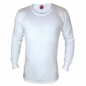 Heat Holders (XX-Large, White) Heat Holders - Mens Cotton Thermal Underwear Long Sleeve Top V