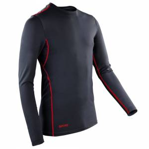 Spiro (M, Black/Red) Spiro Mens Sports Compression Bodyfit Long Sleeve Base Layer Top