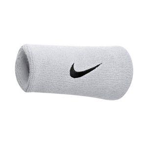 Nike (One Size, White/Black) Nike Swoosh Doublewide Wristband