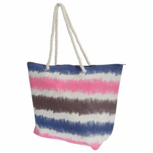 Floso (One Size, Navy/White/Pink/Grey) FLOSO Womens/Ladies Faded Stripe Design Canvas