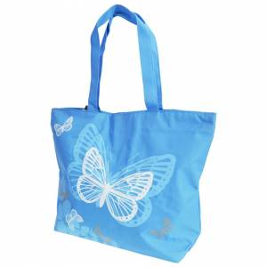 Floso (One Size, Blue) FLOSO Womens/Ladies Floral Butterfly Design Handbag
