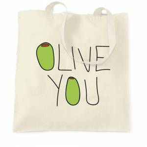 Tim And Ted (, Natural) Valentines Day Tote Bag Olive You Slogan Funny Couples Food Pun