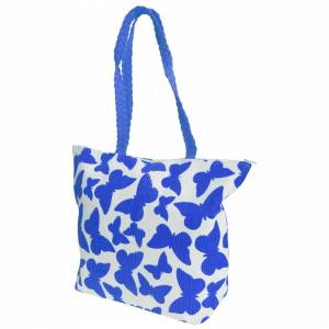 Floso (One Size, White/Blue) FLOSO Womens/Ladies Straw Woven Butterfly Print Top Handl