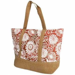 Floso (One Size, Coral) FLOSO Womens/Ladies Woven Floral Print Summer Handbag