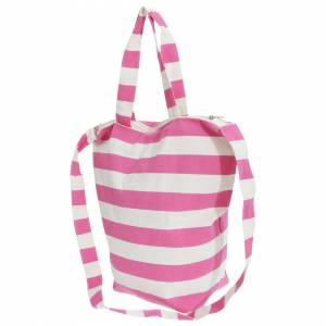 Floso (One Size, White/Pink) FLOSO Womens/Ladies Striped Summer Handbag With Shoulder