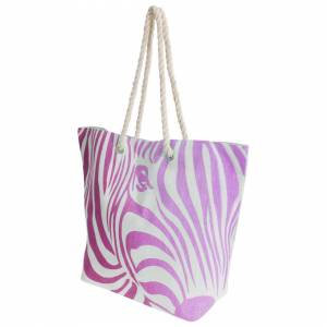 Floso (One Size, White/Pink) FLOSO Womens/Ladies Zebra Stripe Patterned Straw Woven Su