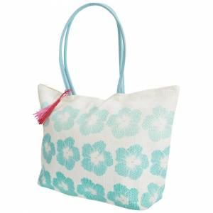 Floso (One Size, White/Turquoise) FLOSO Womens/Ladies Floral Pattern Woven Summer Hand