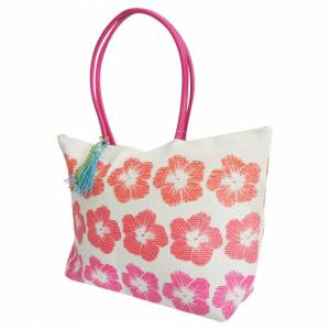 Floso (One Size, White/Pink) FLOSO Womens/Ladies Floral Pattern Woven Summer Handbag