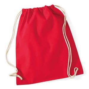 Westford Mill (One Size, Classic Red) Westford Mill Cotton Gymsac Bag - 12 Litres