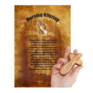 Unbranded Morning Offering Olive Wood Cross  Hand Made In Bethlehem Keepsake