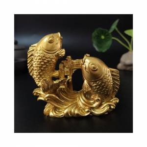 Slowmoose (Gold) Gold Chinese Feng Shui Hand Carved Sculpture Fish Figurine