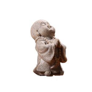 Slowmoose (Grey [94]) Cute Little Monk Adorable Chinese Buddha Sandstone Statue