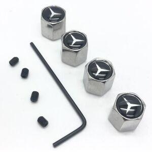 Mercedes Set of 4 Chrome Anti-Theft Car Tyre Air Dust Valve Stem Cap With Allen