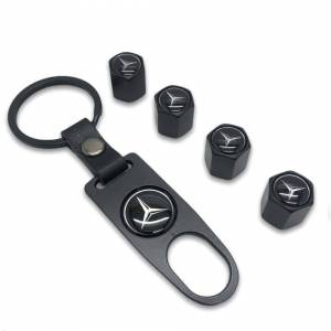 Mercedes Set of 4 Black Car Tyre Air Dust Valve Stem Cap With Keyring Locking To