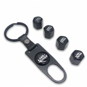 Land Rover Set of 4 Black Car Tyre Air Dust Valve Stem Cap With Keyring Locking