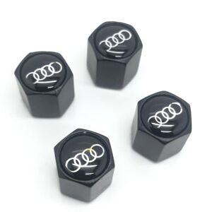 Euro Car Parts Audi Rings Set of 4 Black Anti-Theft Car Tyre Air Dust Valve Stem Cap For S1 A3